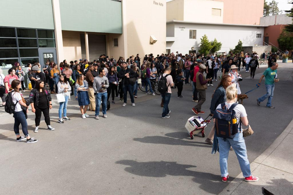 Students+gather+outside+the+humanities+building+after+the+fire+alarm+sounded+off+on+Monday+April+9%2C+2018.+%28Niko+LaBarbera%2FGolden+Gate+Xpress%29
