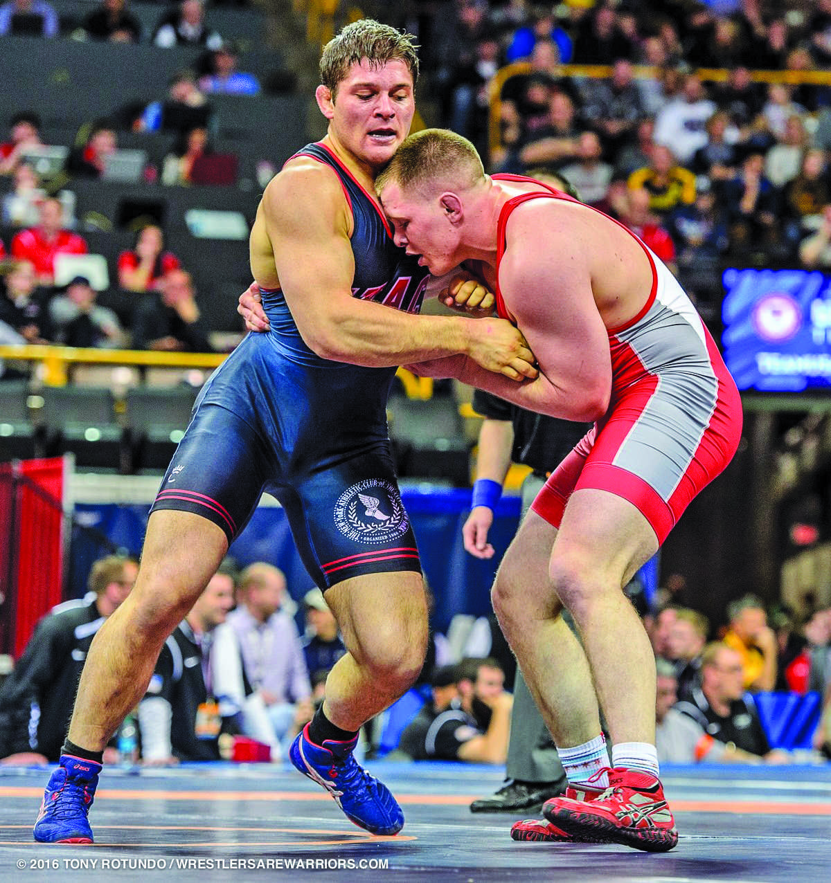 Orry Elor, left, competes in a semifinals match at the 2016 Olympic trials. (Photo courtesy of Tony Rotundo)