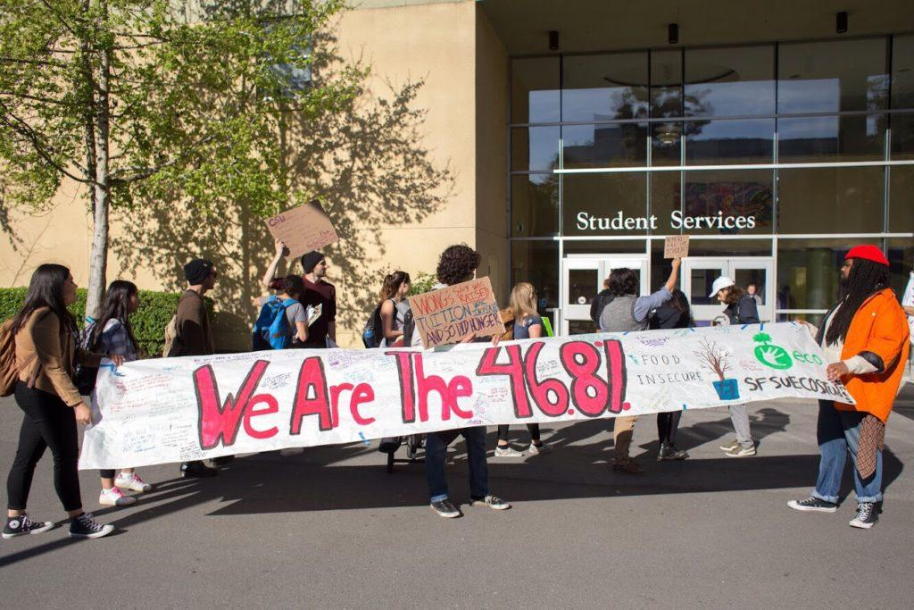 Students stage a food insecurity protest outside of the Student Services building at SF State on Thursday, March 29, 2018. (Travis Wesley/Golden Gate Xpress)