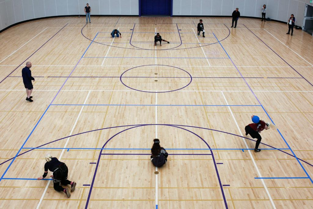 Players+from+team+Berkeley+%28below%29+and+team+SF+State+%28above%29+face-off+during+the+first+annual+goalball+exhibition+at+the+Mashouf+Wellness+Center+on+Saturday+May+5%2C+2018.+%28Niko+LaBarbera%2FGolden+Gate+Xpress%29