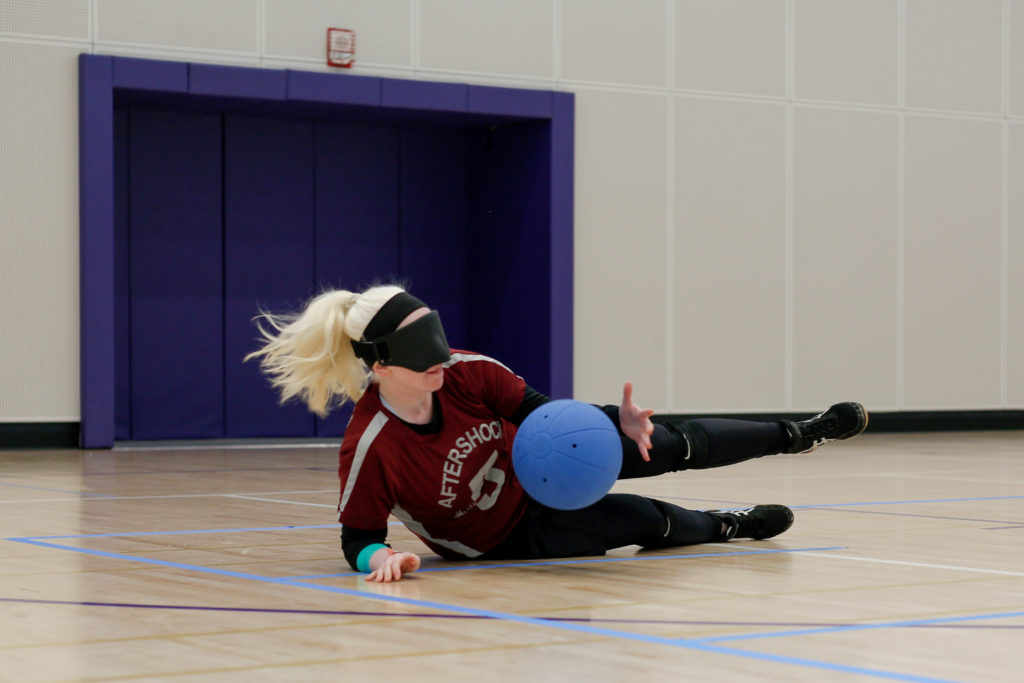 Bryanna+Stubbert+locates+and+blocks+a+shot+during+the+first+annual+goalball+exhibition+at+the+Mashouf+Wellness+Center+on+Saturday+May+5%2C+2018.+%28Niko+LaBarbera%2FGolden+Gate+Xpress%29