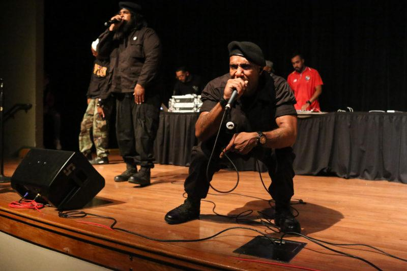 Members of the Black Riders Liberation Party perform at San Francisco State University's Jack Adams Hall on Thursday, August 30th, 2018. The concert event, put on by Associated Students, took place from 6-9 PM and featured multiple performers. (Mira Laing/Golden Gate Xpress)
