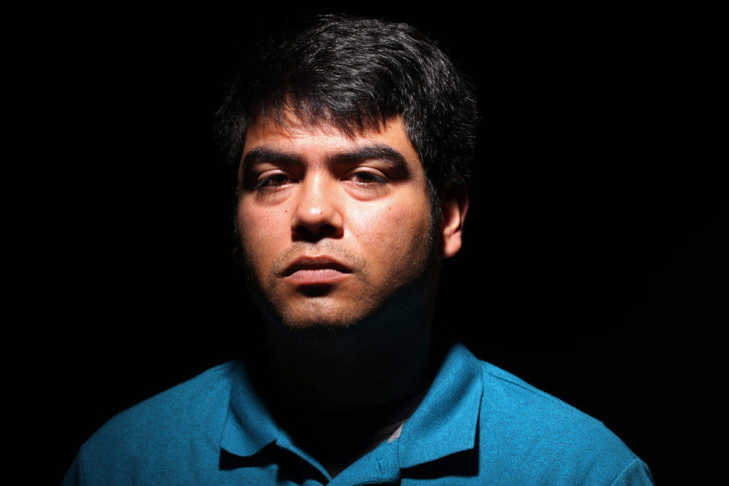 Juan Carlos Hernandez, former Associated Students  president, resigns on Sept. 21 after fellow AS board members unofficially voted him out. Hernandez poses for a portrait in the Humanities 311 at SF State on Monday, Sept. 23.  (Oscar Rendon/Golden Gate Xpress)