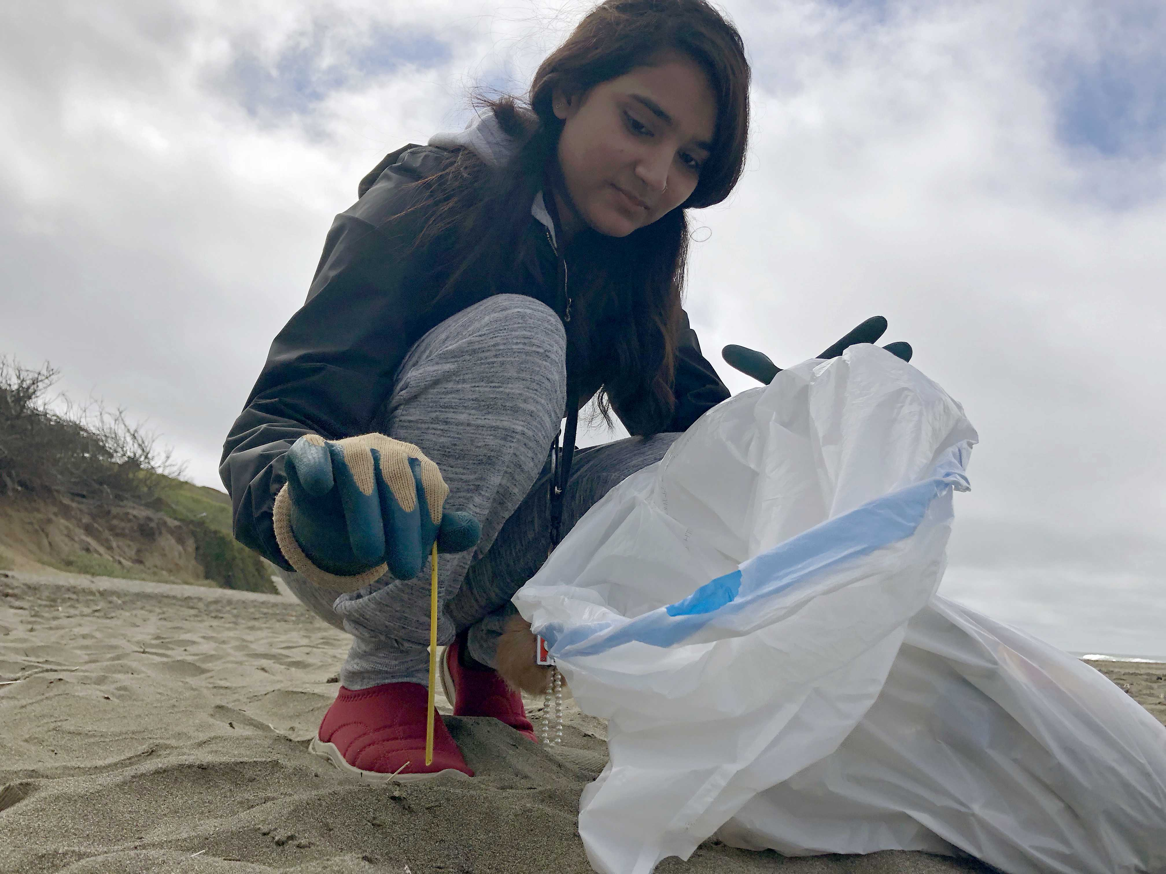 SF State student Sawara Bhattarai picks up a straw at Fort Funston during the California Coastal Cleanup day on Saturday, Sept. 15. Along with 10 other students, Bhattarai went on this volunteer trip that was a part of the SF State campus recreation program's month-long welcome-back campaign. (Brian Vu/Golden Gate Xpress)