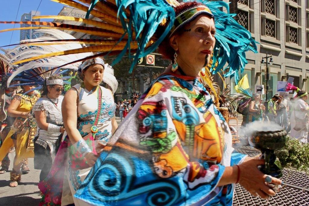 Days before the Global Climate Action Summit was held in San Francisco, Rise for Climate Jobs and Justice organized an environmental march on Saturday, Sept. 8th, 2018. The event was organized with indigenous marchers leading the environmental activists.  (Francisca Velasco/Golden Gate Xpress)