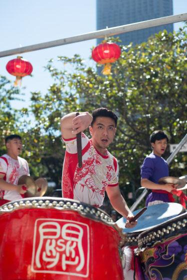 Leung's White Crane Lion and Dragon Dance team member Calvin Zhen perform a traditional Chinese drum performance at the Autumn Moon Festival on Sept. 15. The Autumn Moon Festival is held every year in San Francisco's Chinatown. (Terry Pon/Golden Gate Xpress)