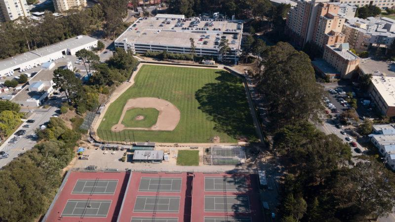Maloney Field and the tennis courts are set to be replaced by an eco-space, consisting of a large grassy recreation area, a creek and an amphitheater by 2035 according to the campus master plan. (Travis Wesley/Special to the Golden Gate Xpress)