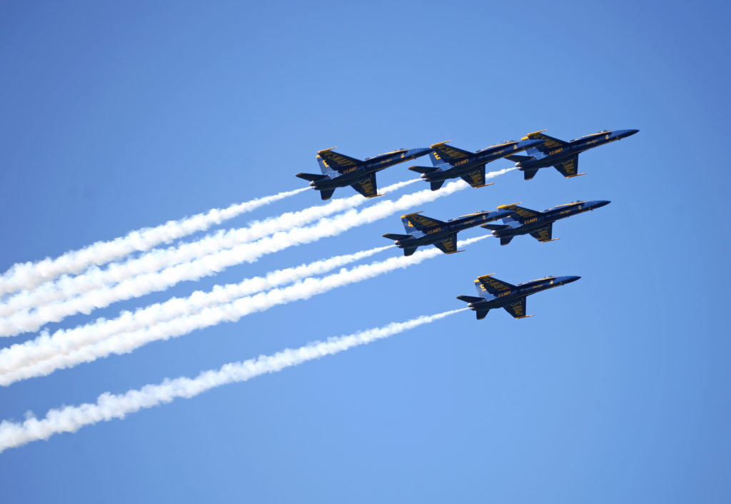 The Blue Angels fly over the heads of crowds who have come to watch the flight demonstrations of the military planes for Fleet Week in San Francisco on Saturday October 6, 2018. (LINDSEY MOORE/GoldenGateXpress)