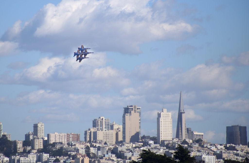 The Blue Angels fly over the San Francisco Bay with the skyline of the city as the backdrop to the Fleet Week airshow on Saturday October 6, 2018. (LINDSEY MOORE/GoldenGateXpress)