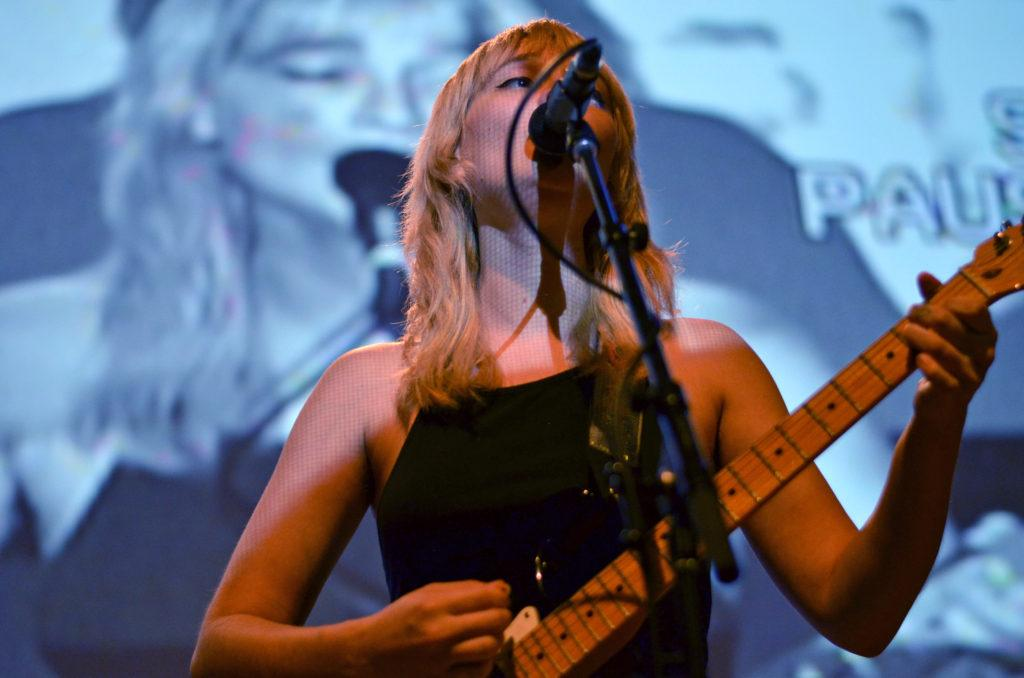 Cherry Glazerr lead vocalist Clementine Creevy performs at SF State in Jack Adams Hall on Thursday, Oct. 18. (Nicole Newman/Golden Gate Xpress)