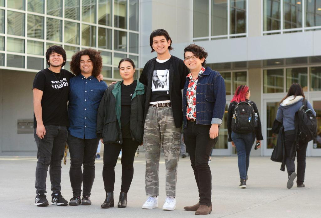 The College Democrats at SF State officers pose for a photograph at the J. Paul Leonard library at SF State in San Francisco, Calif., on Wednesday, Oct. 3, 2018. (Aaron Levy-Wollins/Golden Gate Xpress)