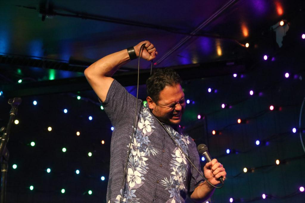 John Mesa performs during Comedy Night at The Depot on Wednesday, October 3rd, 2018. The event featured a variety of stand-up comedy routines. (Mira Laing/Golden Gate Xpress)