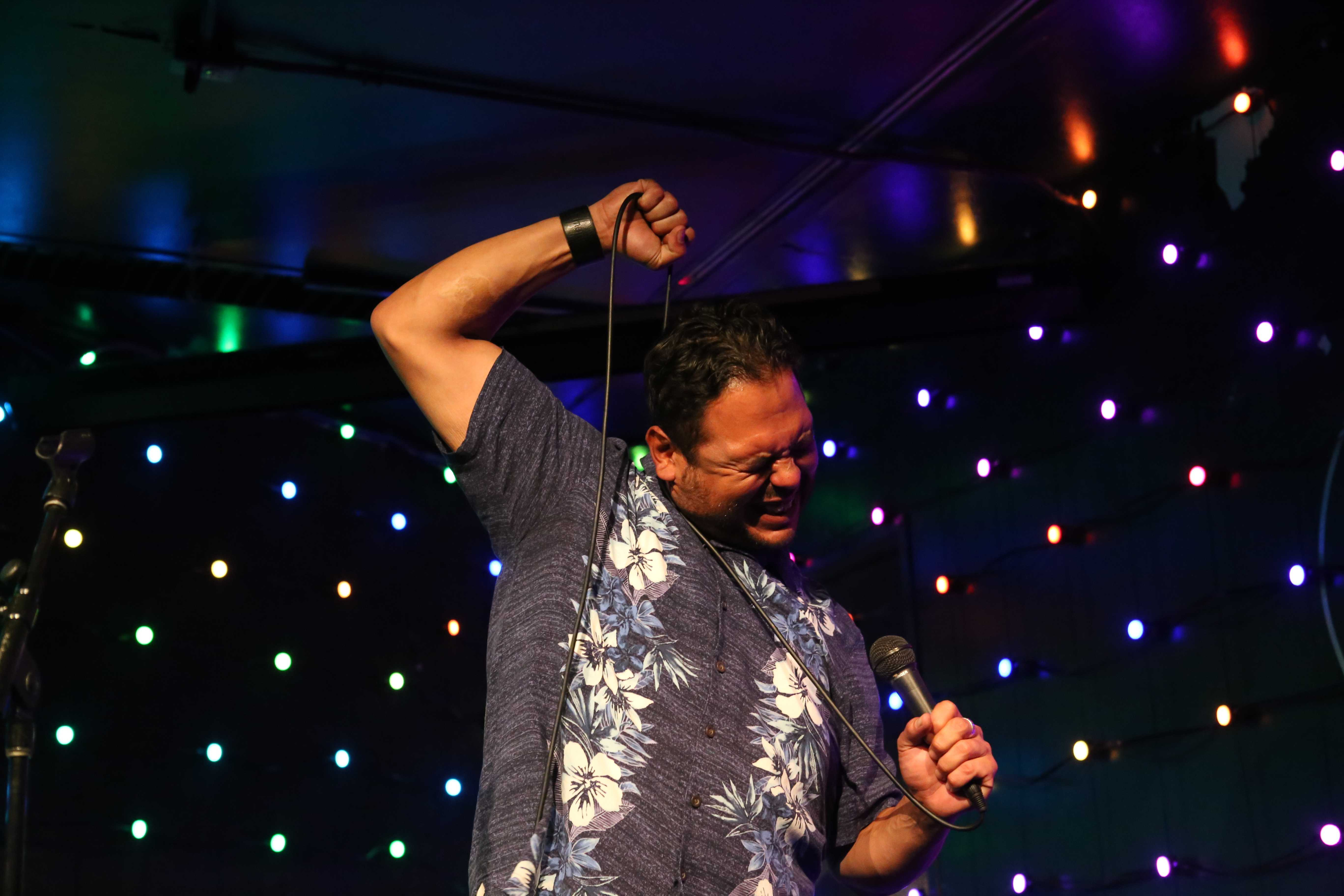 John Mesa performs during Comedy Night at The Depot SFSU on Wednesday, October 3rd, 2018. The event featured a variety of stand-up comedy routines. (Mira Laing/Golden Gate Xpress)
