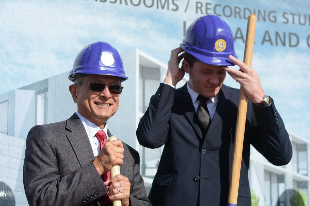 SFSU President Leslie Wong and ASI President Nathan Jones pose for a photograph at a groundbreaking ceremony for a new creative arts building at SF State on Friday, Oct. 26, 2018. (Aaron Levy-Wolins/Golden Gate Xpress)