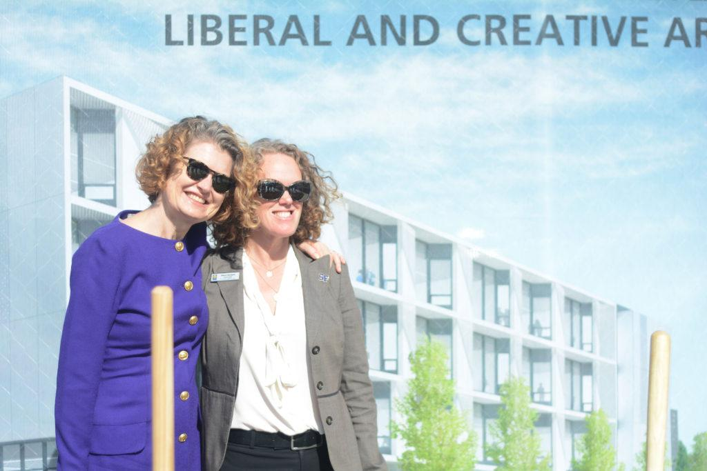 Provost+Jennifer+Summitt+%28left%29+and+Chief+of+Staff+to+the+president+Alison+Sanders+%28right%29+pose+for+a+photograph+at+a+groundbreaking+ceremony+for+a+new+creative+arts+building+at+SF+State+on+Friday%2C+Oct.+26%2C+2018.+%28Aaron+Levy-Wolins%2FGolden+Gate+Xpress%29
