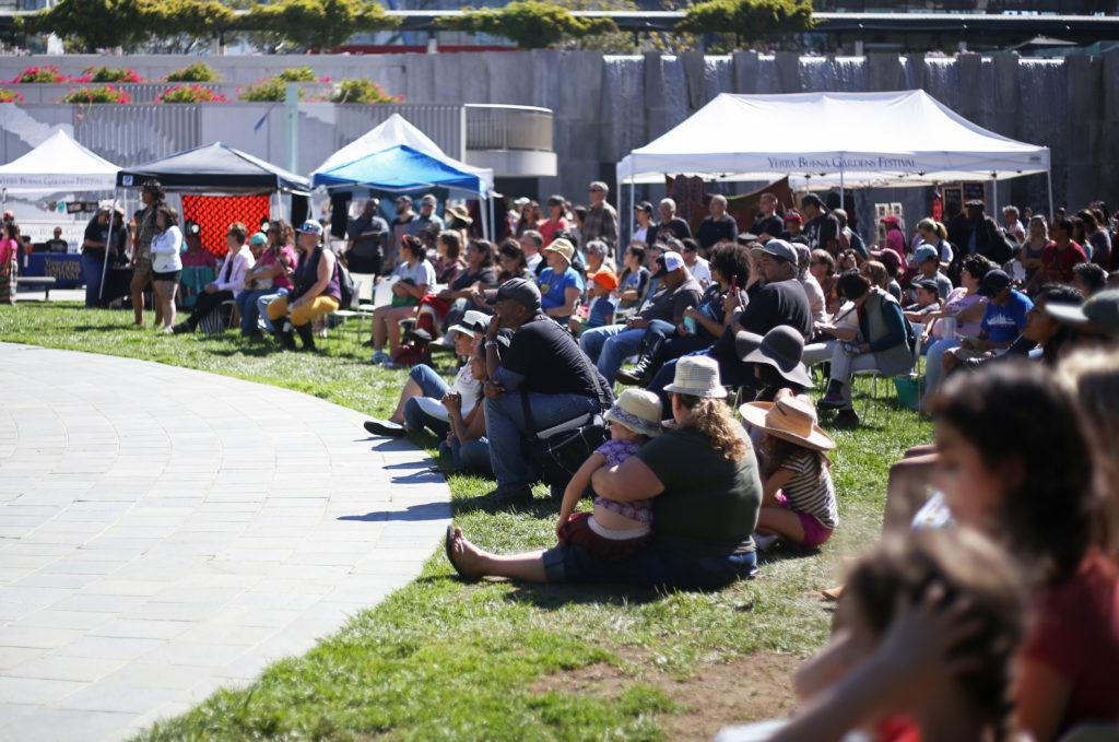 Crowds gathered at the Yerba Buena Gardens in San Francisco for the first official Indigenous People's Day celebration on Monday October 8, 2018. (Lindsey Moore/Golden Gate Xpress)