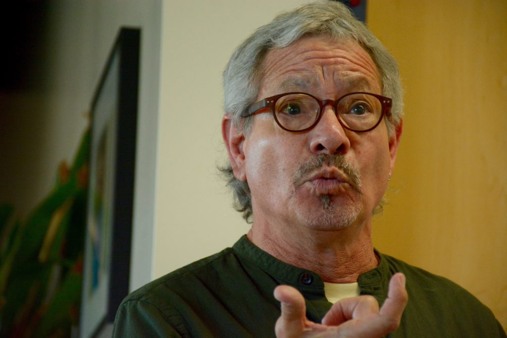Anthropology Professor James Quesada speaks about Nicaraguas history of conflict, violence, and instability at SF State on Wednesday, October 17th. (Tristen Rowean/Golden Gate Xpress)