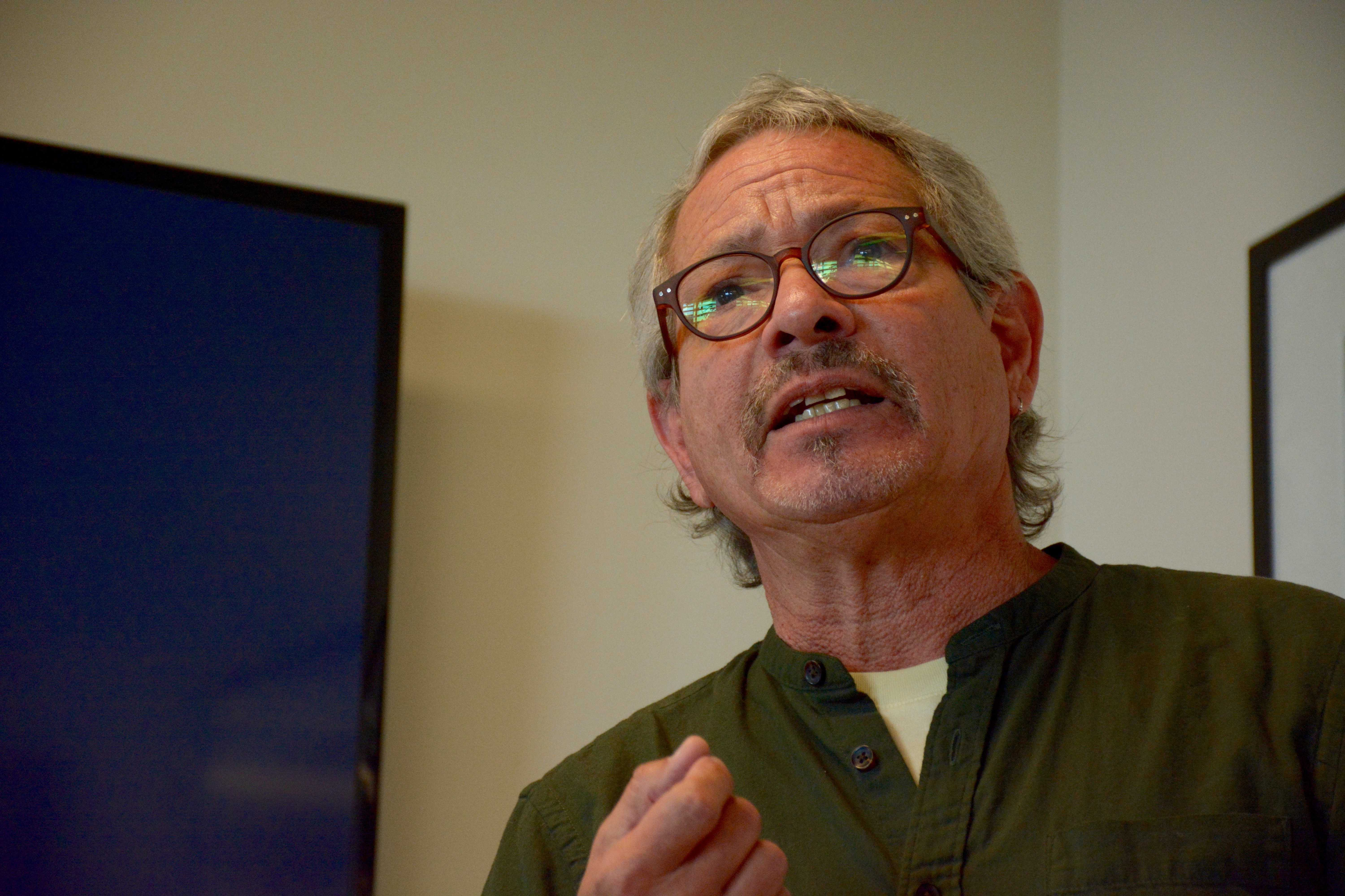 Anthropology Professor James Quesada speaks about Nicaragua's history of conflict, violence, and instability at SF State on Wednesday, October 17. (Tristen Rowean/Golden Gate Xpress)