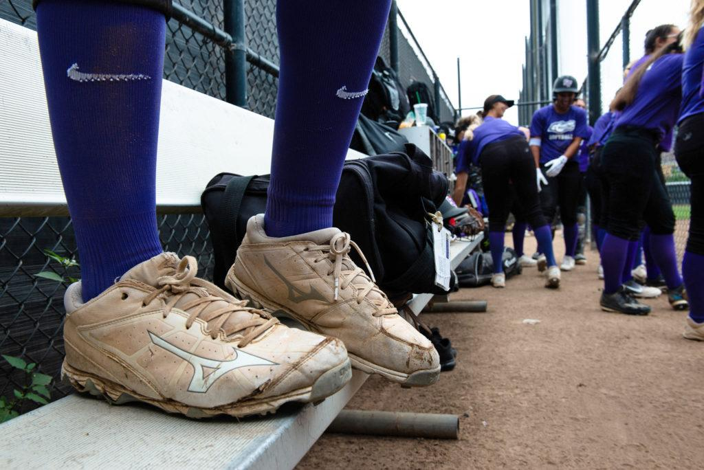 A softball player wears her Mizuno cleats for the annual alumni game at the Softball Field on Saturday, Oct. 13, 2018. (David Rodriguez/Golden Gate Xpress)