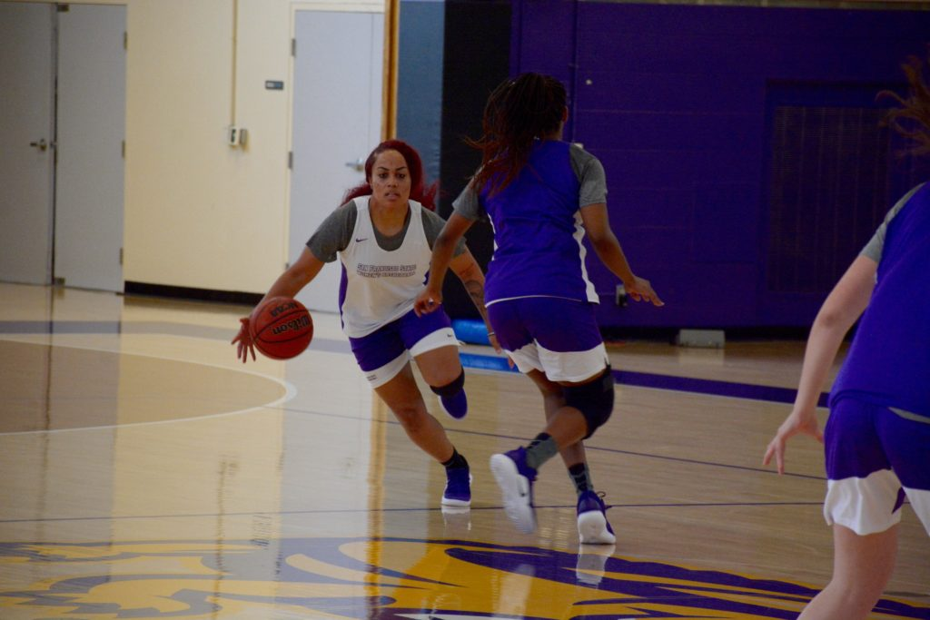 SF State's Women's Basketball team practices inside the Gymnasium on October 18th, 2018.