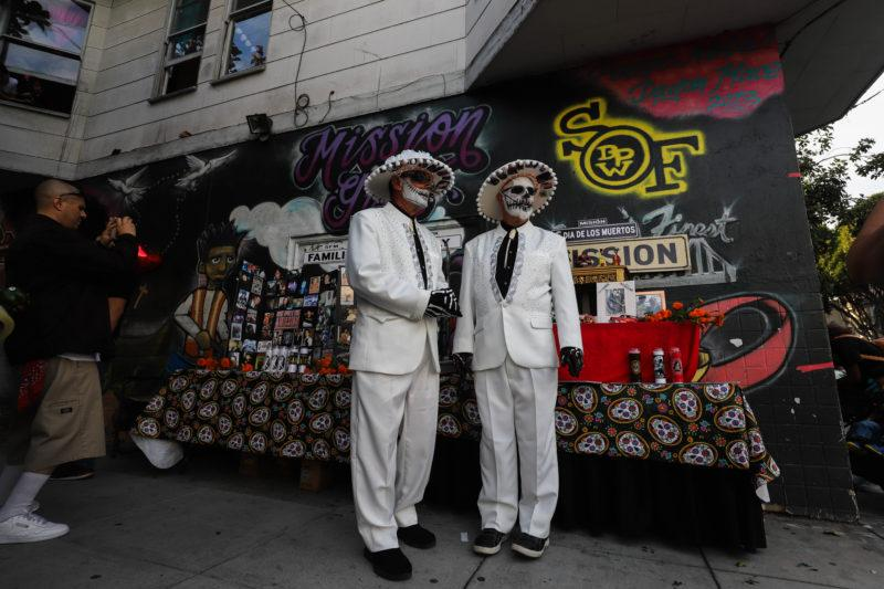 David Bjorklund and Ron Hoover participate in the Dia de los Muertos celebration in the Mission District of San Francisco, Calif. on November 2, 2018. (J335 / Camille Cohen)