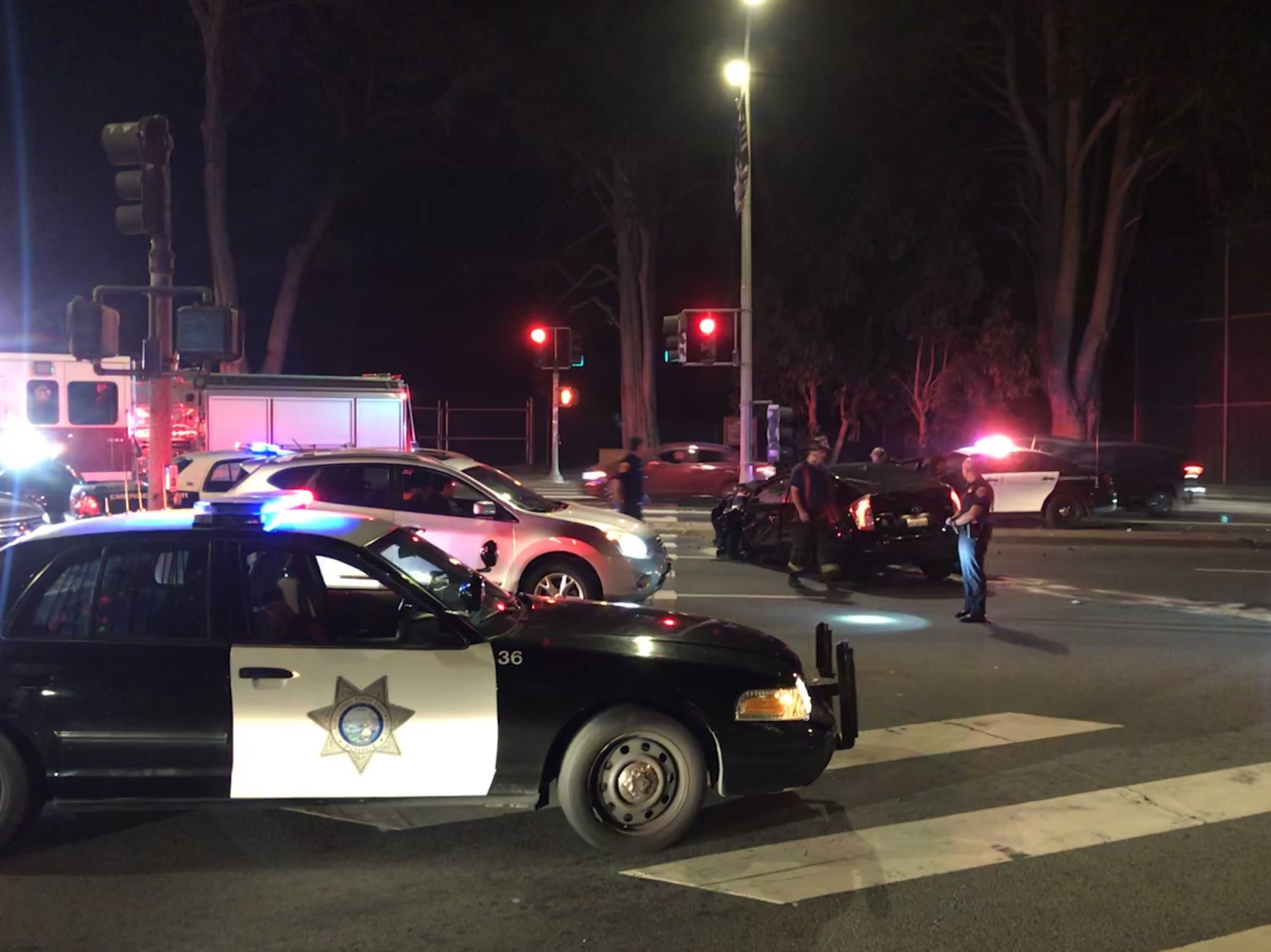 Officers respond to a car accident on Lake Merced Blvd.