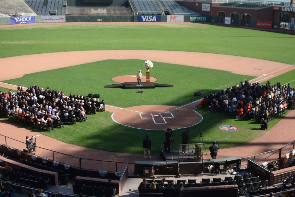 A crowd of dignitaries and former Giants baseball players listens to 1989 Willie Mac award winner Dave Dravecky at Willie McCovey's celebration of life at AT&T Park in San Francisco, Calif., on Thursday, Nov. 8, 2018. The former Giants hall of fame slugger,