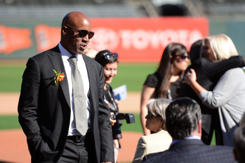 Former San Francisco Giants Barry Bonds arrives at AT&T Park at Willie McCovey's celebration of life at AT&T Park in San Francisco, Calif., on Thursday, Nov. 8, 2018. The former Giants hall of fame slugger,