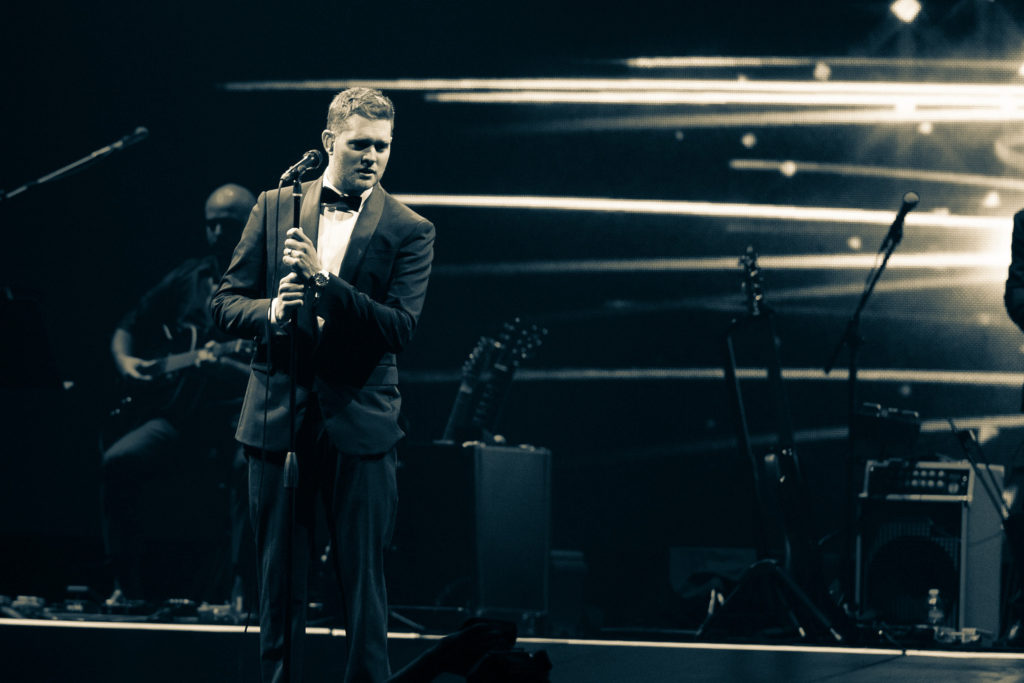 Michael Buble performs at Key Arena in Seattle during his