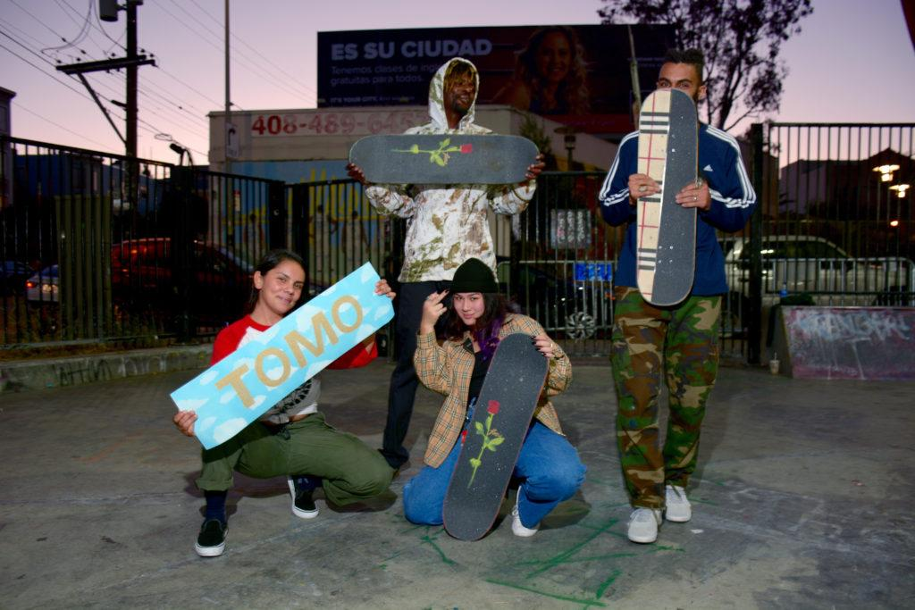 Tomo (middle), Mariah Trujillo (left), Ike Johnson (top middle), and Xavier Wilson (right) at SoMa Skatepark on October 19th, 2018 (Tristen Rowean/ Golden Gate Xpress)