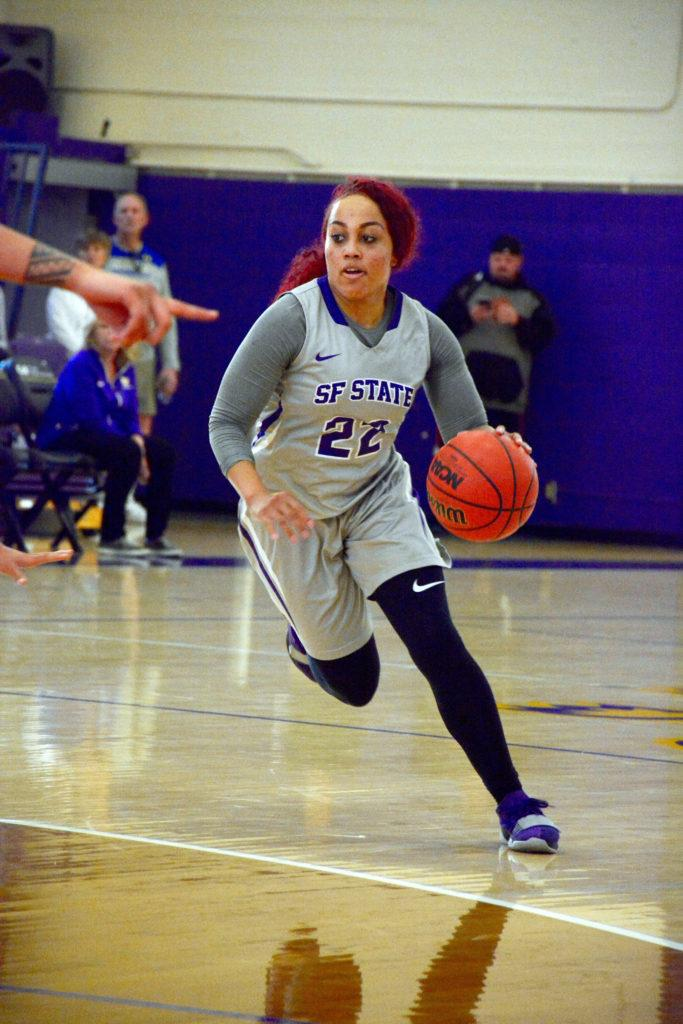 Amani+Alexander+dribbles+past+the+Anchorage+defense+during+their+game+at+SF+State+on+Sunday%2C+Nov.+11.+%28Tristen+Rowean%2FGolden+Gate+Xpress%29