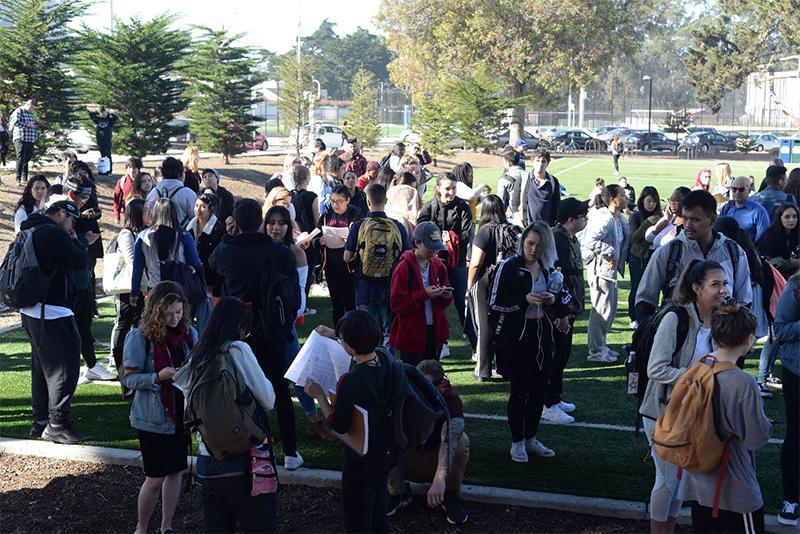 Hundreds of students, staff and faculty wait for the all clear after a pulled fire alarm led to the evacuation of the Humanities Building at San Francisco State University at about 10 a.m. on Tuesday, Nov. 6.  Terry Pon/Golden Gate Xpress