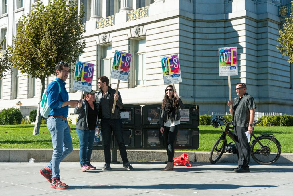 Proposition E volunteers demonstrate outside of San Francisco City Hall on Tuesday, Nov. 6, 2018. (Chris Robledo/Golden Gate Xpress)
