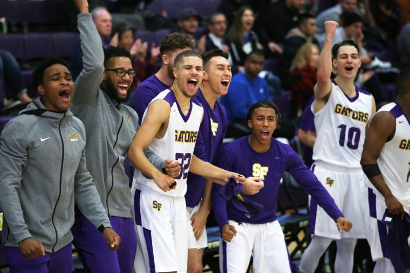 The Gators celebrate scoring during the Gators' game against Chico State University held at SF State on Saturday, Dec. 1, 2018. (Mira Laing/Golden Gate Xpress)