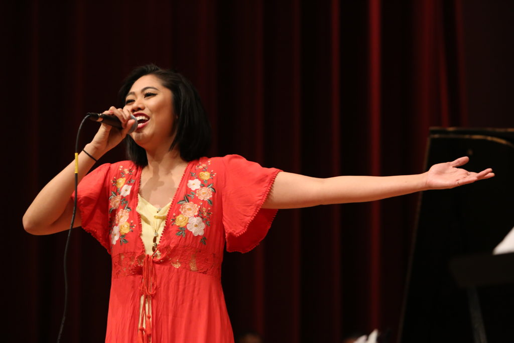 Yzabel Cabral sings during the Afro-Cuban Jazz Ensemble Concert at SF State's Knuth Hall on Wednesday, Dec. 5, 2018. (Mira Laing/Golden Gate Xpress)