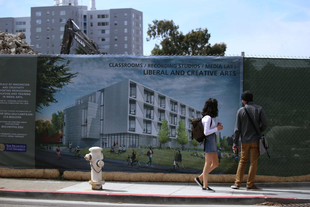 Construction of San Francisco State University's new Liberal and Creative Arts building takes place on Wednesday, September 12th, 2018. (Mira Laing/Xpress)