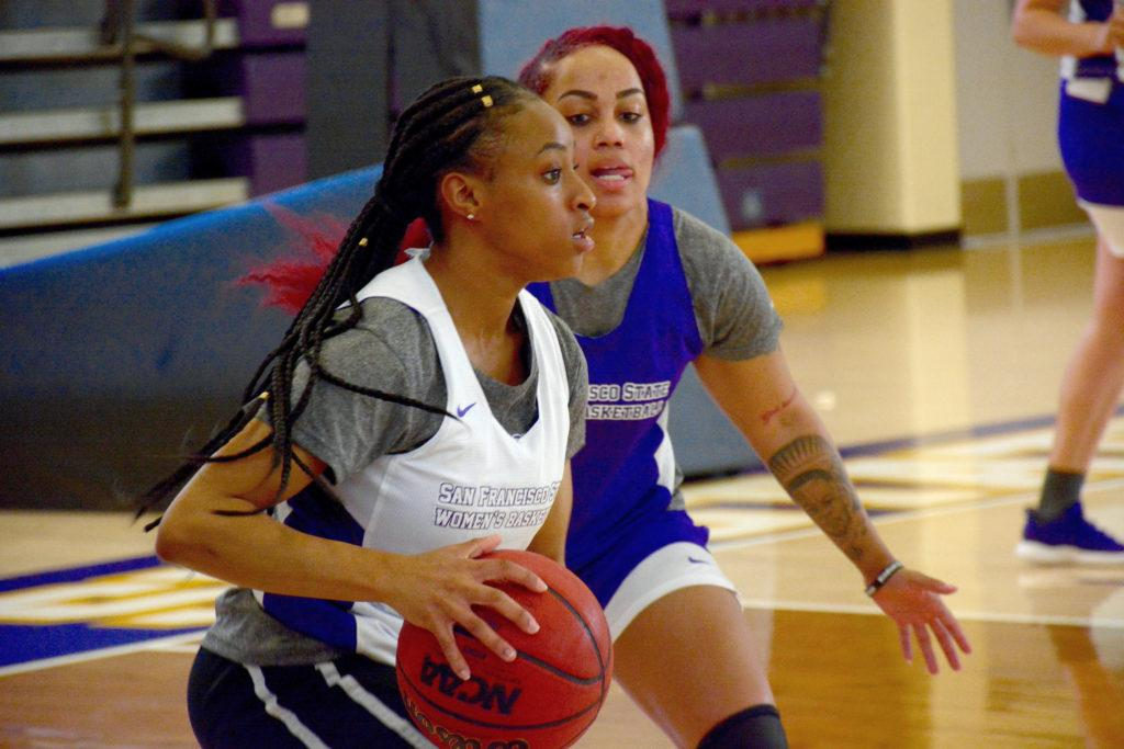 SF State's women's basketball team practices inside the Gymnasium on Oct. 18, 2018. (Tristen Rowean/Golden Gate Xpress)