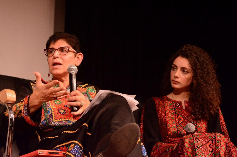 Arab and Muslim Ethnicity Diaspora studies director Rabab Abdulhadi speaks at the 11th commemoration of the Edward Said mural at SF State on Thursday, Nov. 1, 2018.