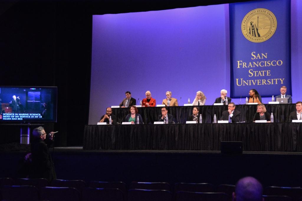 Trustees' Committee hears public comments at the SF State Presidential Search Committee open forum on Feb. 5. Photo by Shaylyn Martos