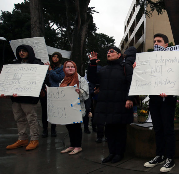 Arab and Muslim Ethnicities and Diasporas Studies Rabab Abdulhadi speaks at a protest of SF State's decision to list Israeli Independence Day as a religious holiday Wednesday Feb. 13, 2019. (James Chan/Xpress)