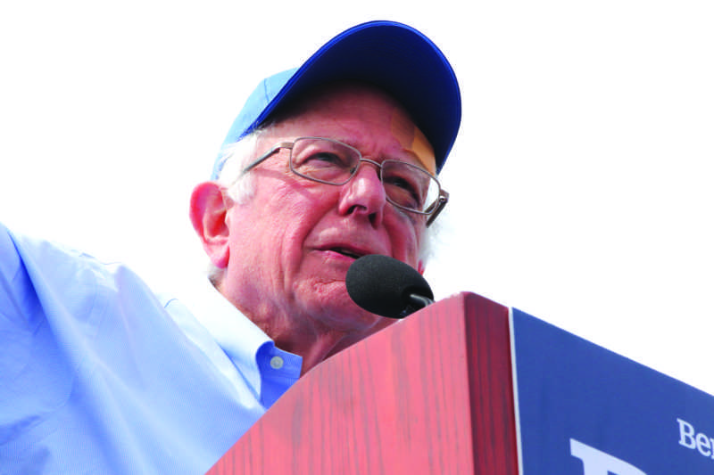 Vermont Sen. Bernie Sanders speaks on stage to a crowd during his presidential campaign rally at Great Meadow Park at Fort Mason in San Francisco on Sunday, March 24, 2019. (Andrew Leal / Golden Gate  Xpress)