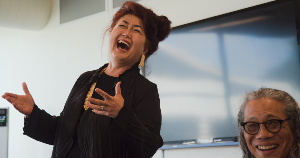 Performing artist Brenda Wong Aoki (left) laughs during the Asian Americans in the Arts discussion in J. Paul Leonard Library at SF State on Wednesday, March 20, 2019.