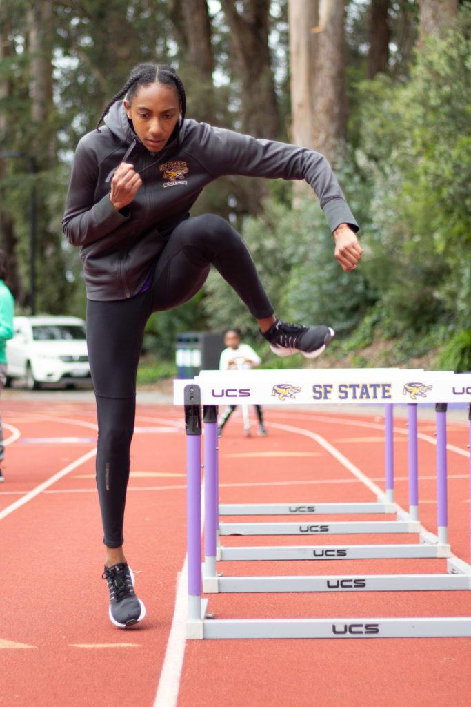 Devanique Brown, 21, brodcasting major, practicing hurdle drills on Apr. 1, 2018.