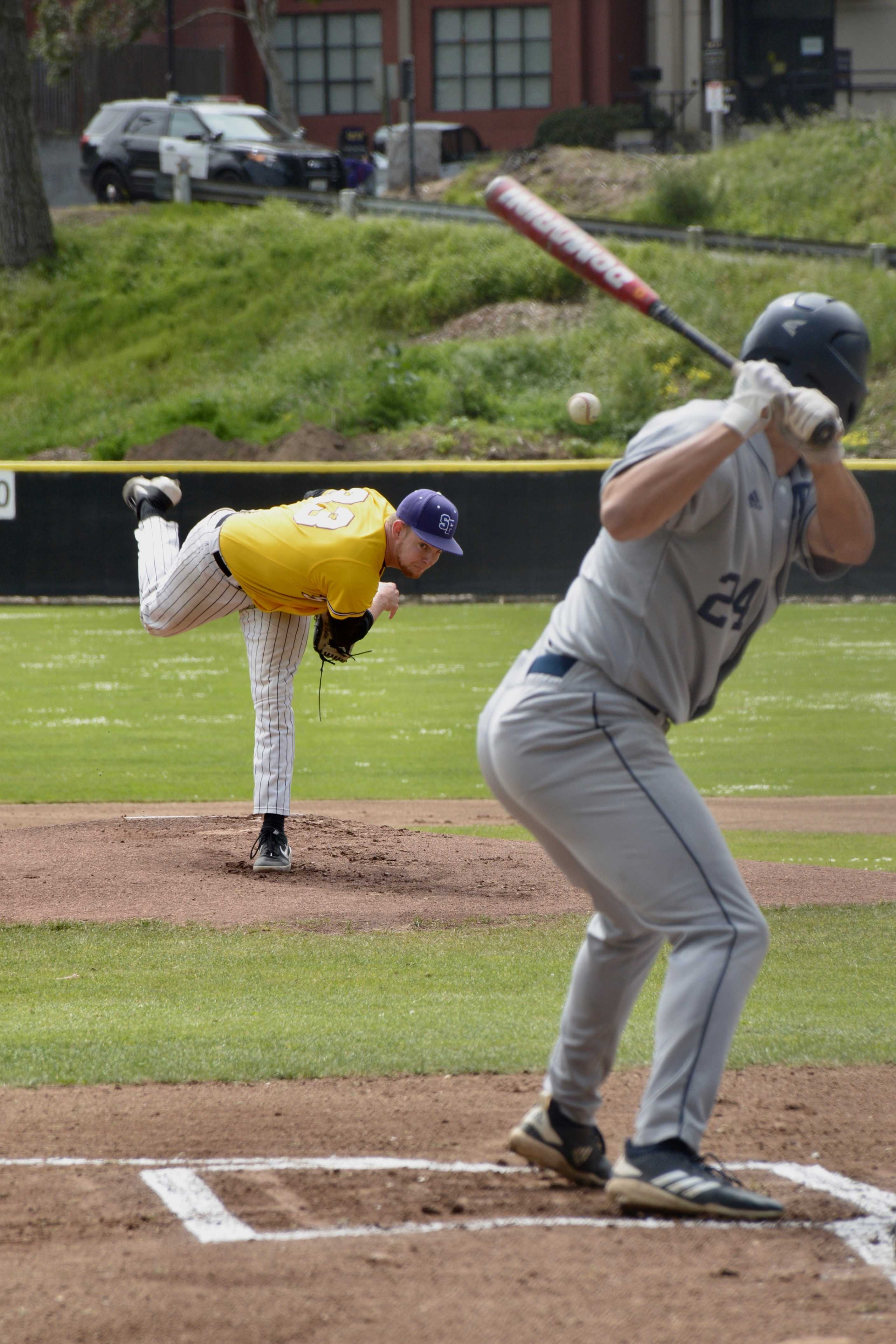 SF State Gators pitcher Jordyn Eglite pitches to Cal State Monterey Bay Otters outfielder TJ Dove during the Gators' game against the Cal State Monterey Bay Otters on Saturday, April 20th. (TRISTEN ROWEAN/Golden Gate Xpress)