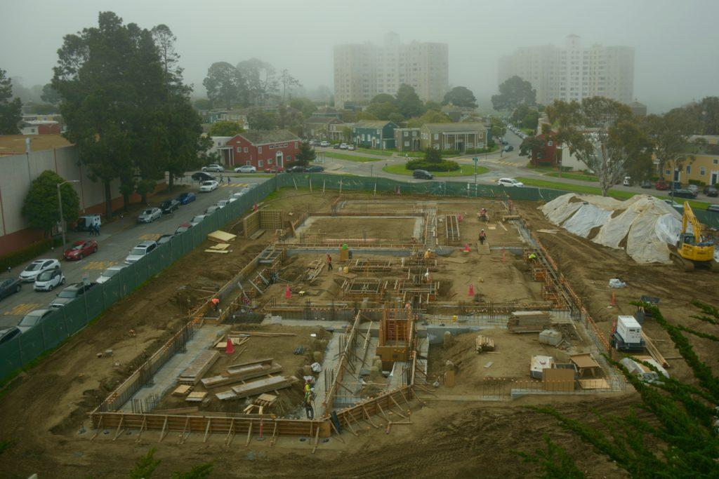 The construction site for the future Liberal and Creative Arts building between the Humanities and Creative Arts buildings on Monday, April 8, 2019. (TRISTEN ROWEAN/ Golden Gate Xpress)