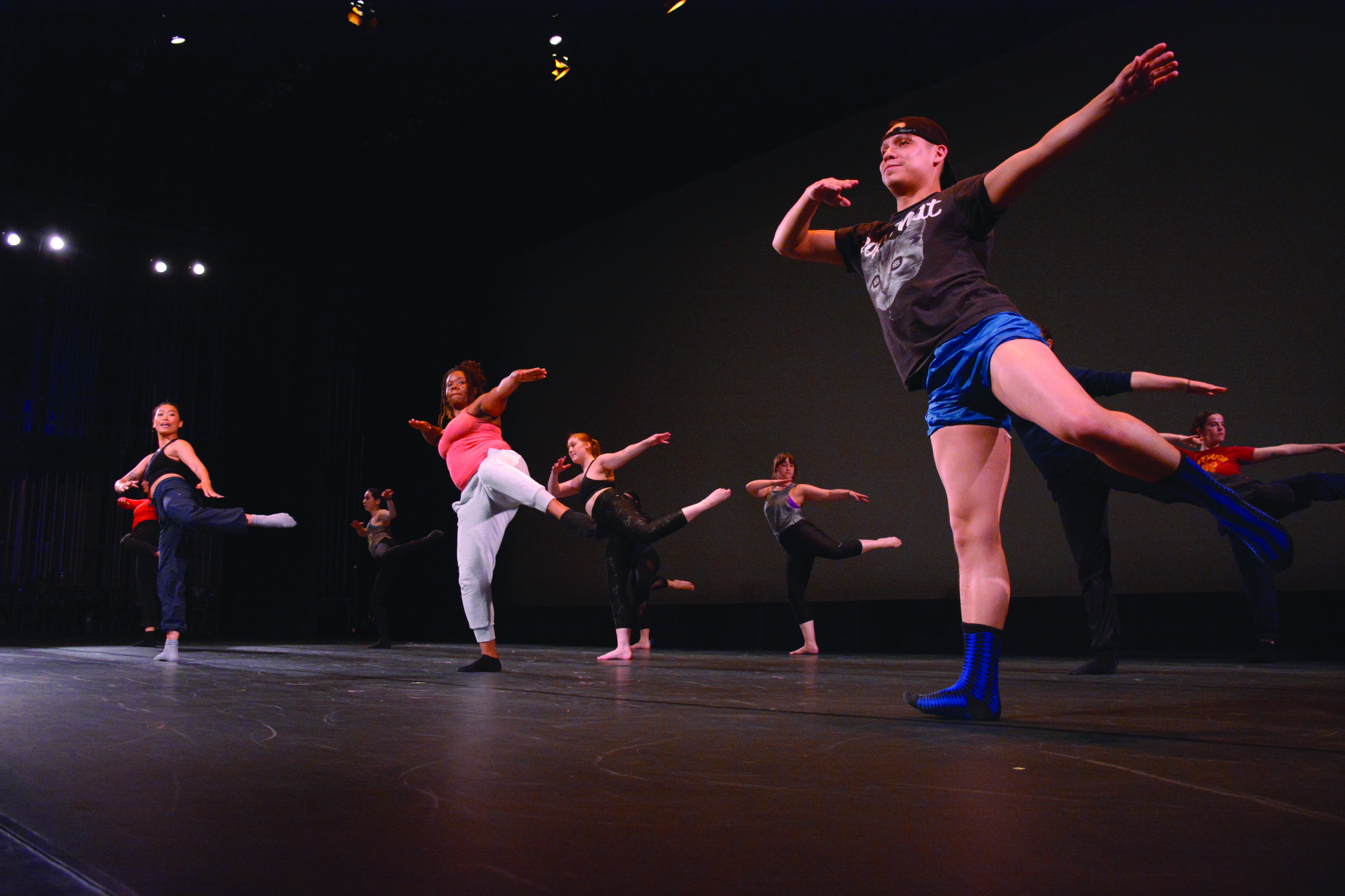 University Dance Theatre goes through a dance to warm up before its opening night on Thursday, April 4th at the Mckenna Theatre. (TRISTENROWEAN/ Golden Gate Xpress)