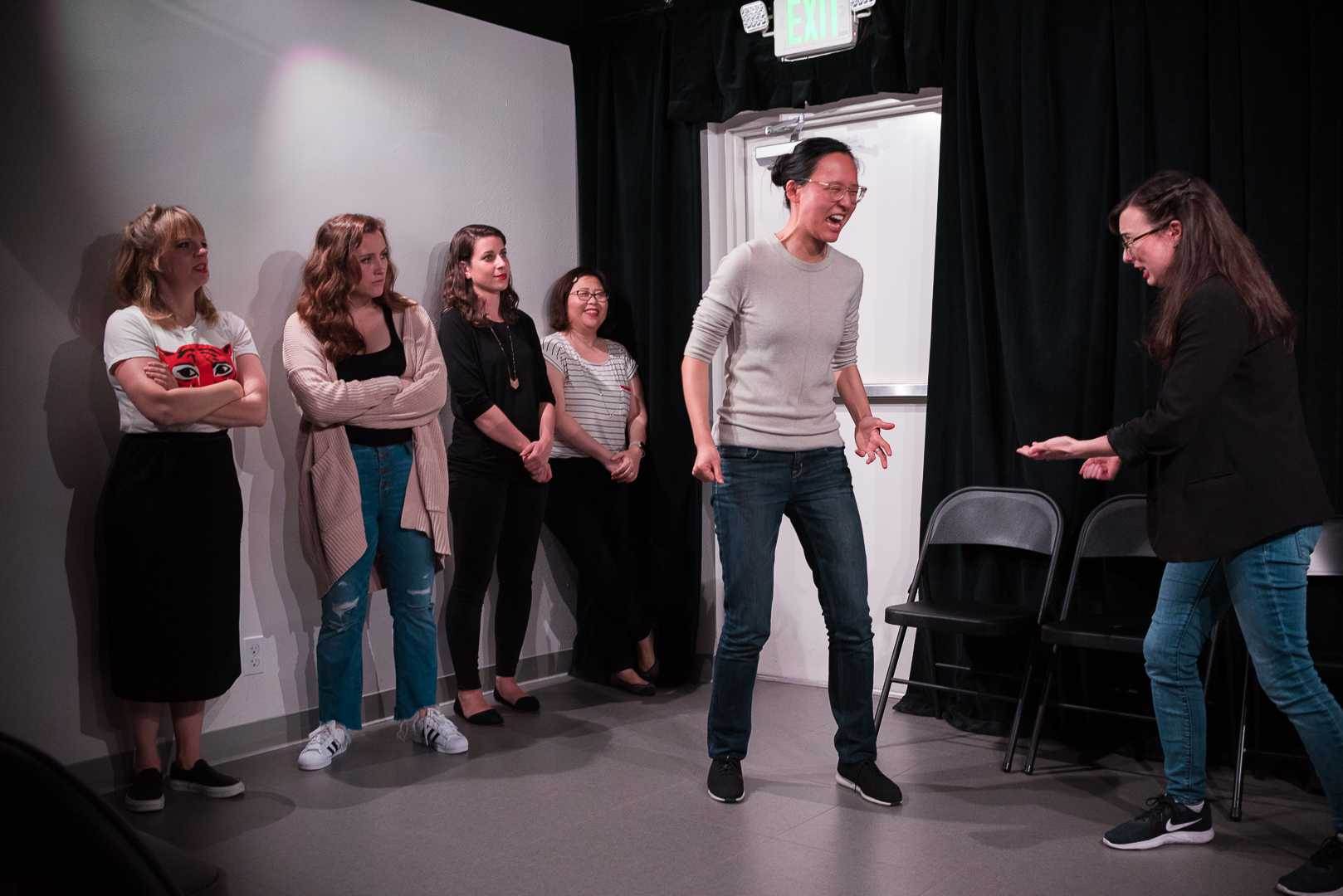 The Janice Improv Group performs their comedy routine at the Endgames Improv Training Center in the Mission district of San Francisco, Calif., on Friday, April 12, 2019. (CHRIS ROBLEDO/ Golden Gate Xpress)