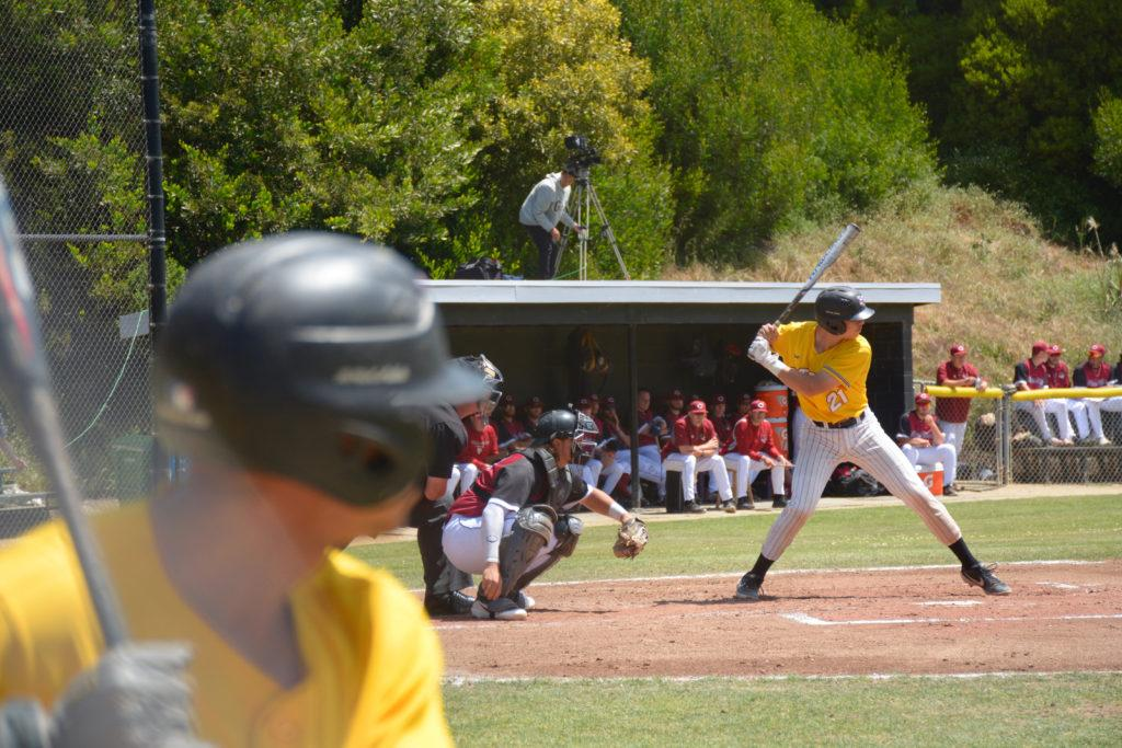 Jason Hare at bat as the SF State baseball team clinched a playoff berth during their doubleheader against Chico State, emphatically winning the first game 12-4 before losing the second game in a nail-biter, 3-2 on Friday, May 3.