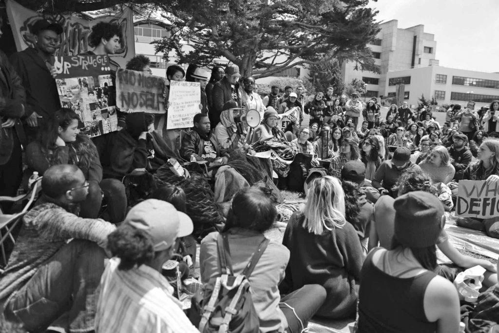 Students+and+faculty+gather+in+the+quad+for+a+press+conference+regarding+demands+for+SF+State%2C+President+Wong+on+the+eighth+day+of+the++hunger+strike+on+Monday.++The+hungerstrike+is+led+by+the+Third+World+Liberation+Front+2016%2C+a+name+used+to+pay+homeage+to+the+1968+strike.++%28Aleah+Fajardo%2F+Xpress%29