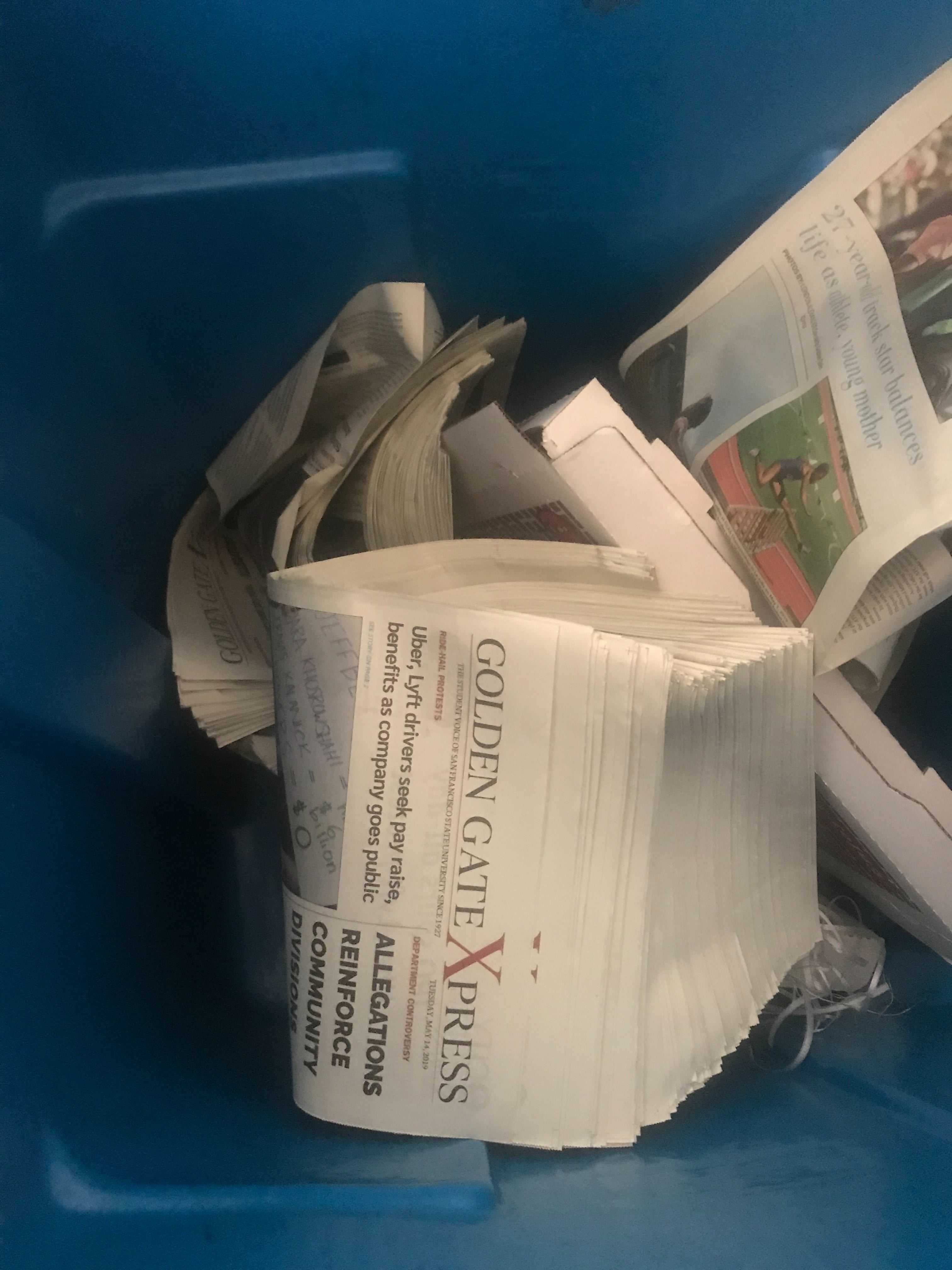 300 copies of Golden Gate Xpress newspapers were found in a nearby trashcan to the Rm. 125 purple box in the Humanities Building on May 15, 2019. (MONSERRATH ARREOLA/Golden Gate Xpress)